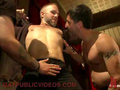 Bound gay to a cross gets dick teased