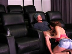 Naughty couple fuck in cinema