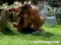 Fat Jitka face sitting and torturing her submissive slave