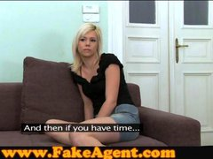 FakeAgent Innocent blonde takes first time facial in...