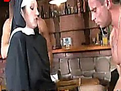 Nun Takes On Two Cocks In The Pub
