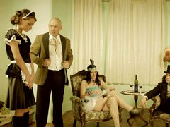 Sexy lady and maid punished