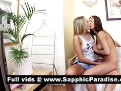 Stunning blonde and brunette lesbians kissing and having lesbia sex