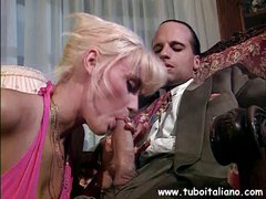 Lewd blonde Italian lady with a ripe axe wound makes out with an hombre