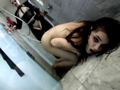 Redhead mistress is making her slave do humiliating things and eat pussy