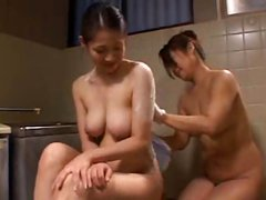 Foam makes these two young Japanese lesbians' bodies look even better