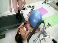 Tied up busty MILF is used like a fucktoy and deepthroats