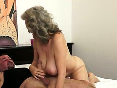 Awesome old granny Aliz is being nicely drilled in her asshole by the younger guy, that