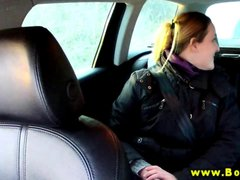 Horny blonde babe eagerly giving blowjob in black taxi
