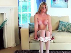 White chick with an sexy stockings and really sweet legs Perri Doran is masturbating on camera, as she is being filmed by her perverted boyfriend. Enjoy the hot masturbation video.