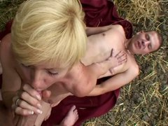 Horny mature gets banged and creamed in the woods