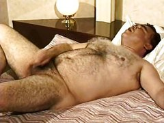 Hairy japanese dad jacks off