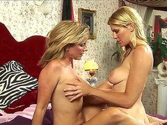 Two super hot blonde milfs prove us that they dont need husbands or lovers to get real pleasure. They use their own fingers and tongue for a sweet lesbian orgasms.