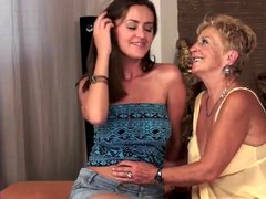 Tit sucking and pussy licking in old young lesbian porn