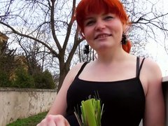 Redheaded czech girl analed outdoors