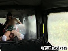 Santa gets a hot teen helper in his taxi and they decide to fuck