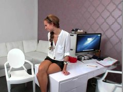 Beautiful female agent fucked in office