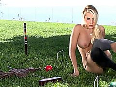 Croquet Awesome posing and public masturbating,ass and pussy exposing outdoors