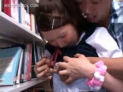 Asian schoolgirl tit fucked hardcore in the library