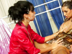 Strapon lesbian pounding with toy