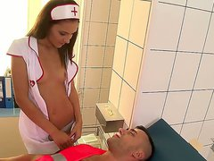 Great nurse/patient fantasy. Staring Alexis Brill. Hardcore action as this sexy chick with big tits sucks on this mans hard cock whilst he is still on the table. She strips her uniform off, and then sits on his face so he can smell, and lick her tight moi