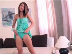 Skinny teen Alexis Brill in soft green dress