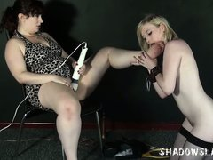 Lesbian feet licking and foot domination of lezdomme slave girl Satine Spark in kinky bdsm and naughty humiliation