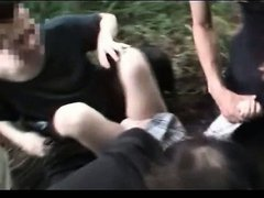 Jap doll in school uniform raped and abused in outdoor gangbang