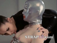 fluent strapon lesbians in mask playing