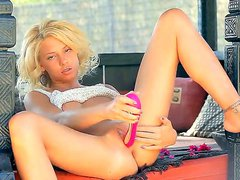 Horny and passionate golden haired honey