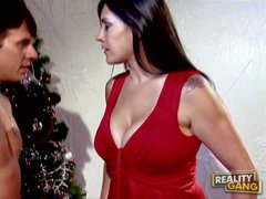 beautiful busty milf Raylene dressed in red bends over for