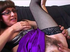 Lovely mature gets her hairy cunt