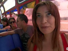 We met charming Sandra in a public bus. Hot chick