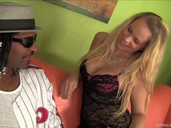 Seductive blonde Britney Young can't wait to give his black