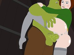 Shrek banging with his green dick