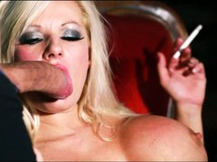 Big racked blond seductress Havana Sin turns man into her
