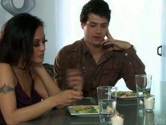 This adult movie scene features lucky man spending time with