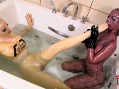 Black Angelica and Latex Lucy are crazy girls in latex