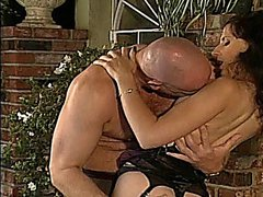 Sexy mature slut in lingerie bent over the patio table and drilled hard