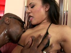 Asian slut Annie Cruz takes a massive black cock up her asshole
