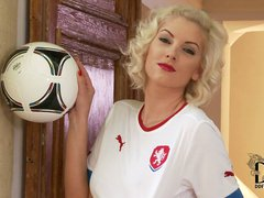 Beautiful Czech blonde model Bianca wears national team's white soccer