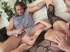 Blonde MILF slut Harmony Rose takes two hard cocks in DP action