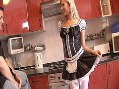 Naughty blonde Spanish maid Donna Bell gets ass fucked by her boss