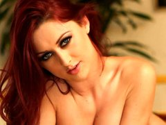 Long aired charming redhead babe Karlie Montana poses naked showing