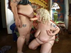 two bbw lesbian in action strapon