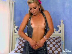 Blonde haired slim babe Lena Nicole with A size tanlined