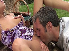 Sexy slut gets fucked hard after an erotic picnic