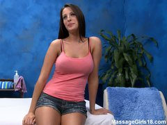 Curvy big titted brunette chick Kortney with sexy legs takes