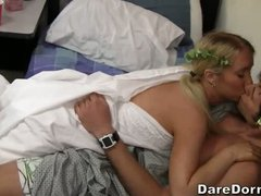 Toga party in the college dorm! Nicely dressed blonde and