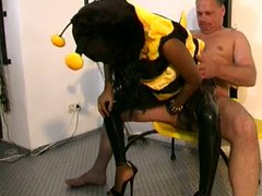 Bitch gets dressed like a bee and fucked hard by her man
